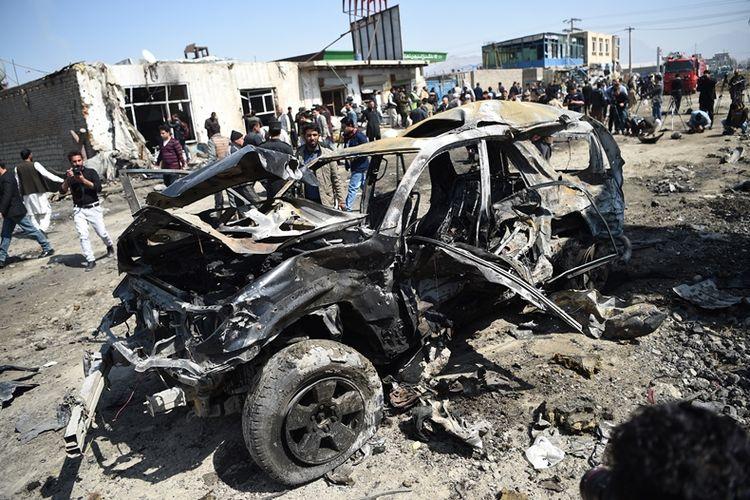Teror bom mobil bunuh diri kembali terjadi di Kabul, Afghanistan, pada Sabtu (17/3/2018). Serangan yang diklaim Taliban kali ini menewaskan dua warga sipil.