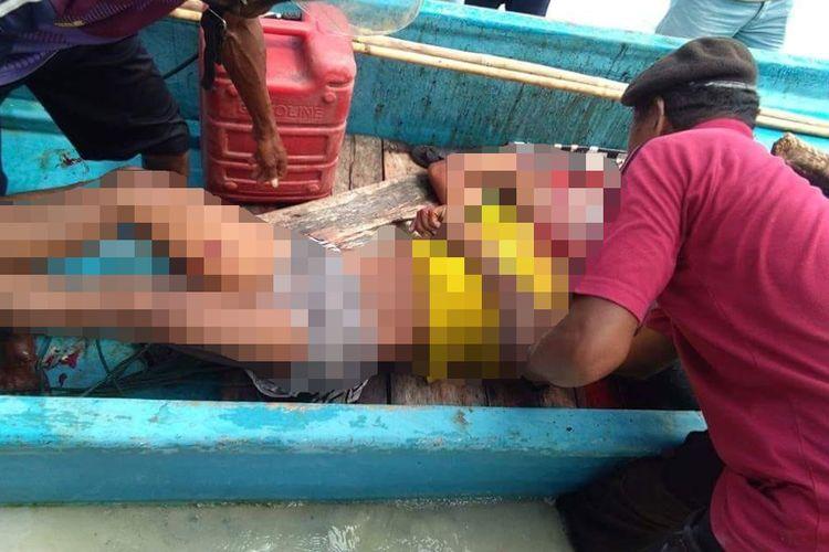 Pelaku pembunuhan pasutri di Desa Debut, Kecamatan Kei Kecil, Kabupaten Maluku Tenggara tewas dihakimi massa saat bernenang di laut, Selasa (29/5/2018).