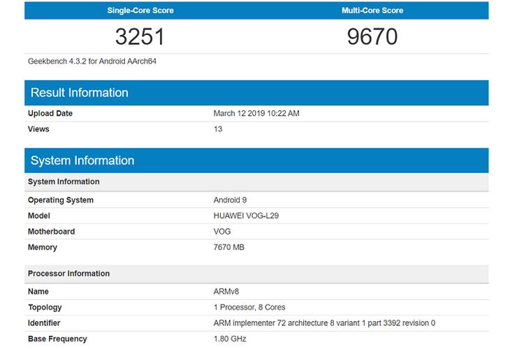 Bocoran Benchmark Huawei P30 Pro dari Geekbench