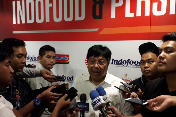 Direktur Utama Persija Jakarta Gede Widiade usai acara partnership launch Persija dan Indofood di Jakarta, Kamis (17/1/2019).