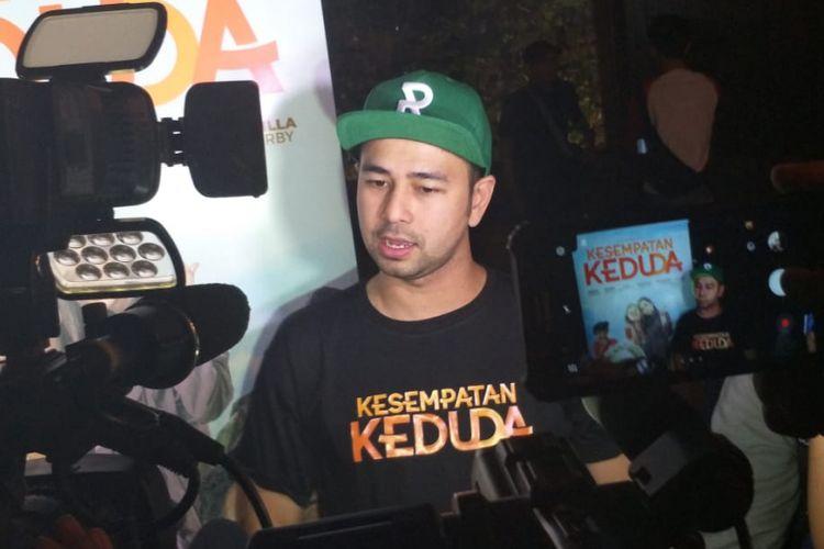 Raffi Ahmad saat peluncuran poster dan trailer Film Kesempatan Keduda di kawasan Kebayoran Baru, Jakarta Selatan, Senin (10/9/2018).