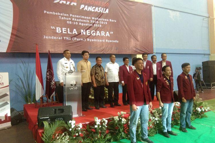Menhan Jenderal (Purn) TNI Ryamizard Ryacudu  menjadi pembicara utama pada Pembekalan Penerimaan Mahasiswa Baru (PPMB) Universitas Tarumanegara tahun akademik 2018-2019 (8/8/2018).