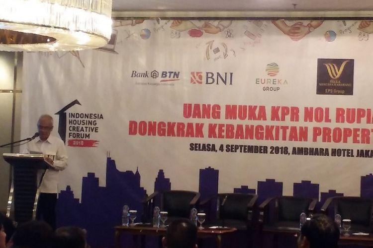 Direktur Evaluasi Bantuan Pembiayaan Perumahan Kementerian PUPR Arvi Argiantoro dalam diskusi Indonesia Housing and Creative Forum bertajuk Uang Muka KPR Nol Rupiah, Dongkrak Kebangkitan Properti Milenial, Selasa (4/9/2018) di Jakarta.