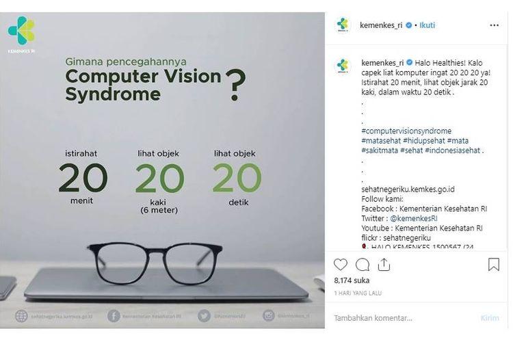 Kemenkes ingatkan rumus 20-20-20 untuk mencegah kelelahan pada mata akibat terlalu lama menatap monitor komputer atau ponsel.