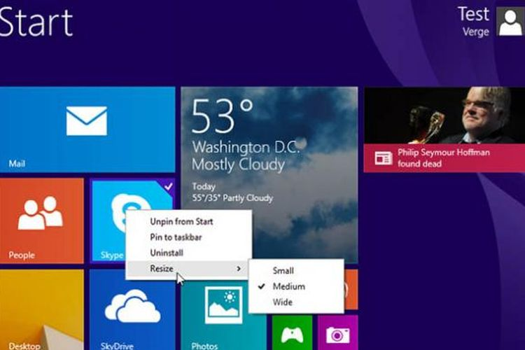 Tampilan Windows 8.1 update 1.