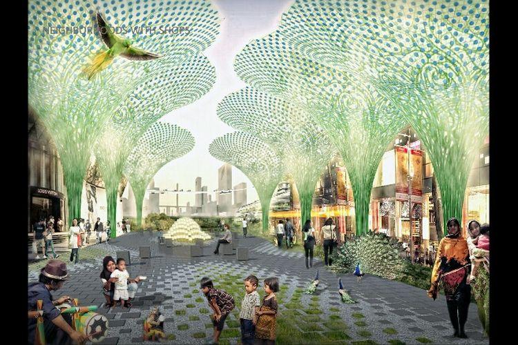 Gambaran lingkungan dan pusat belanja dalam konsep reklamasi Jakarta Jaya: The Green Manhattan.