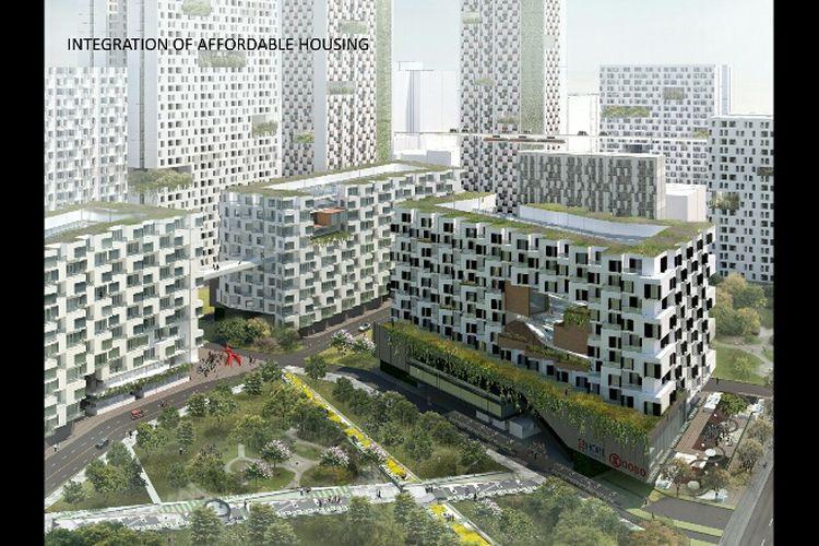 Perumahan murah dalam konsep reklamasi Jakarta Jaya: The Green Manhattan.