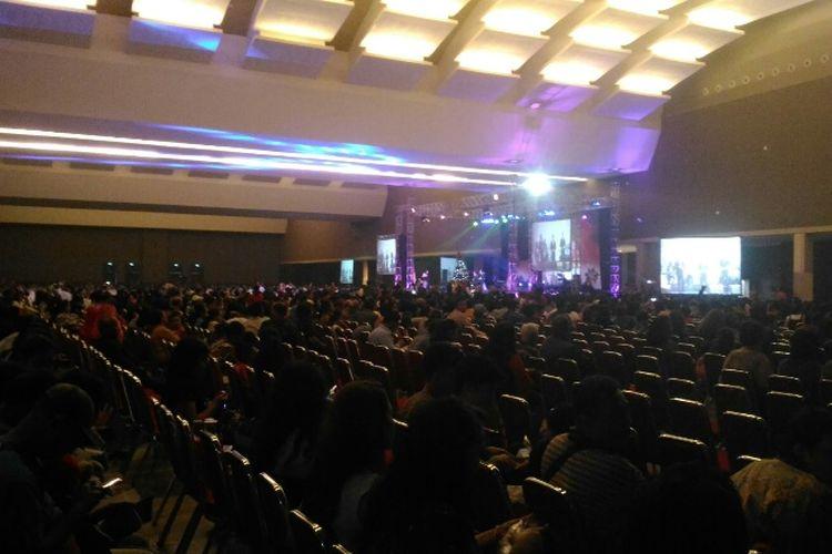 Suasana perayaan Natal Bersama Pemprov DKI Jakarta di Hall B3 Jiexpo Kemayoran, Jakarta Pusat, Sabtu (13/1/2018).