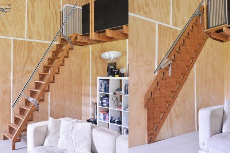 bentuk tangga yang bisa dilipat dan ditekuk ke dalam atau ke atas
