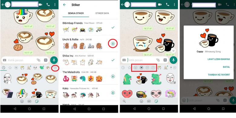 Cara mengunduh stiekr di WhatsApp, ketuk ikon tambah lalu unduh stiker yang dipilih. Semua koleksi stiker akan dikategorikan. Pengguna bisa pilih stiker favorit yang nantinya terkumpul di ikon bintang. (Kompas.com)