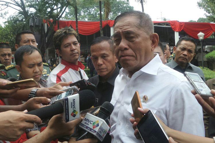 Menteri Pertahanan Ryamizard Ryacudu  saat ditemui di Kementerian Pertahanan, Jakarta Pusat, Kamis (15/6/2017).