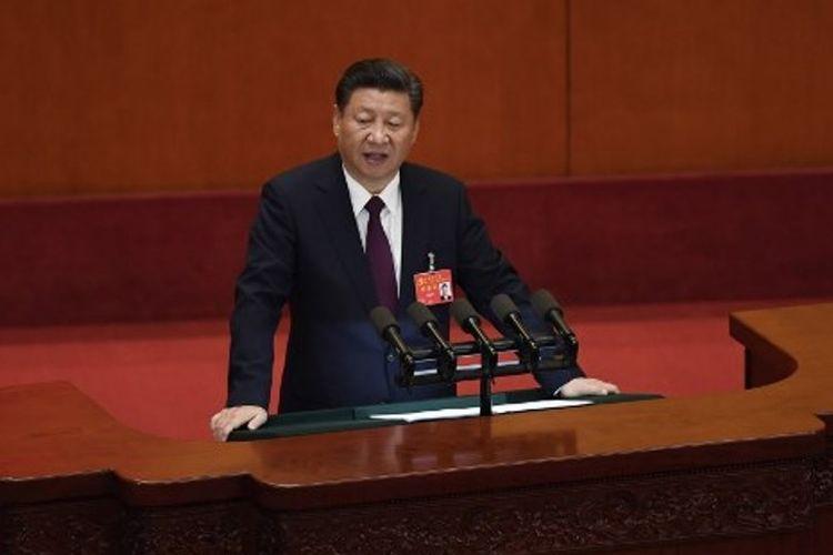 Presiden China Xi Jinping saat menyampaikan pidato di hadapan peserta kongres Partai Komunis di Balai Besar Rakyat di Beijing, Rabu (18/10/2017).