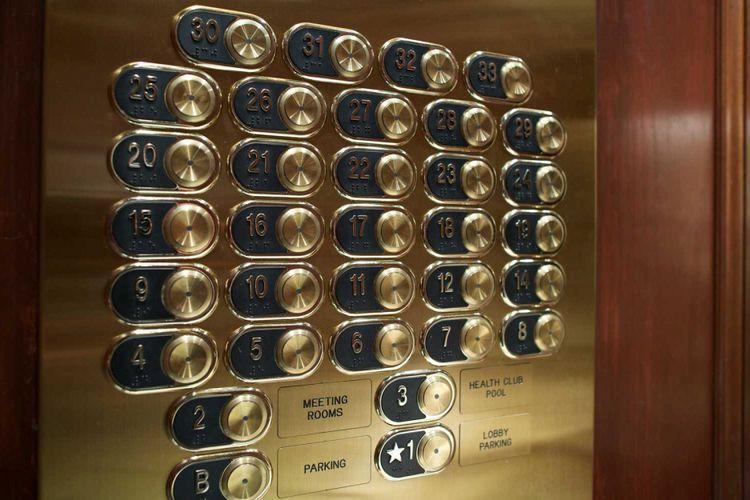 Ilustrasi lift Hotel tanpa lantai 13.