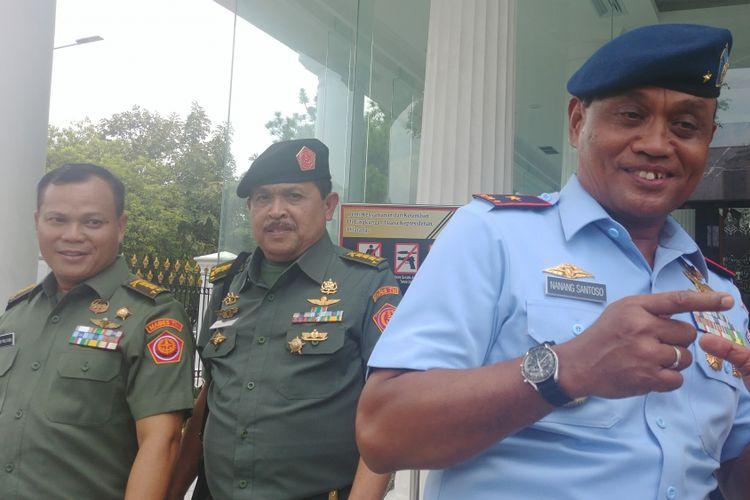 Beberapa perwira TNI-Polri usai bertemu Jokowi di Istana Kepresidenan, Jakarta, Kamis (1/2/2018).