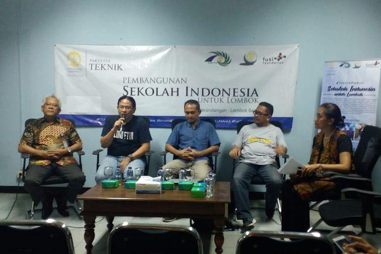 Diskusi pembangunan Sekolah Indonesia di Lombok, Rabu (17/10/2018) di Kampus UI Salemba, Jakarta.