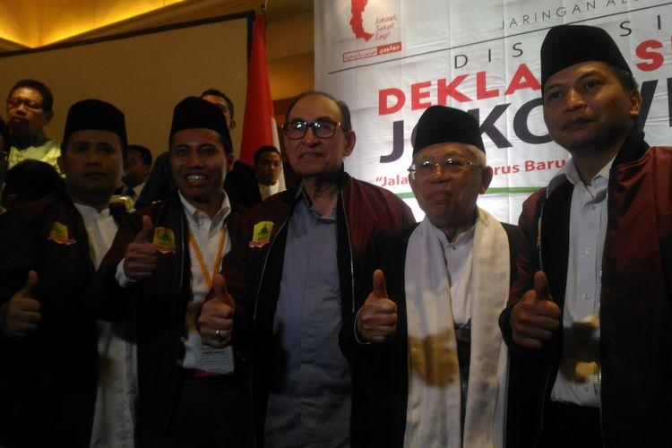 Calon wakil presiden nomor urut 01, Maruf Amin, saat menghadiri deklarasi dukungan JAMI ke Jokowi-Maruf di Hotel Aryaduta, Jakarta, Sabtu (9/2/2018).