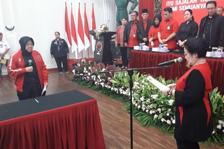 Prosesi pelantikan Ketua DPP PDI-P Bidang Kebudayaan Tri Rismaharini di Kantor DPP PDI-P, Senin (19/8/2019).(KOMPAS.com/Ardito Ramadhan D)