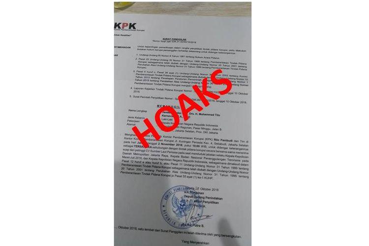 Beredar foto surat panggilan Kapolri Tito Karnavian ke KPK atas dugaan korupsi.(Kepolisian Negara Republik Indonesia)