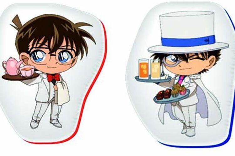 """Detective Conan Café 2019 Die Cut Cushion"" (Copyright Aoyama Gosho/ Shogakukan, Yomiuri TV, TMS 1996)"
