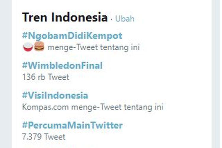 #NgobamDidiKempot Trending Topic Twitter Indonesia nomor 1, Senin (15/7/2019) dini hari.
