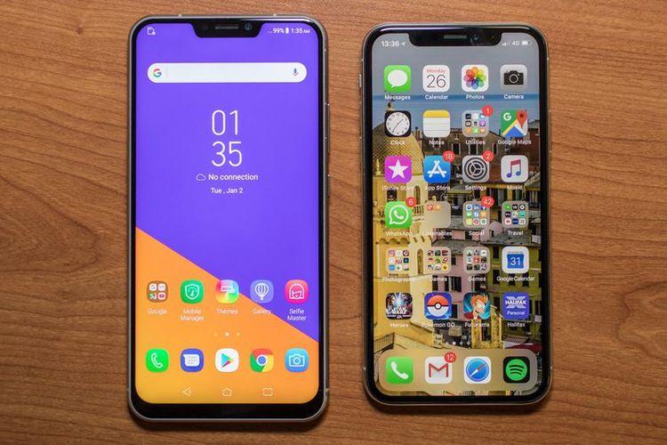 Asus Zenfone 5 (kiri) dan iPhone X (kanan) yang tampak mirip. Asus Zenfone 5 memiliki layar LCD lebih besar  dibanding layar OLED iPhone X.