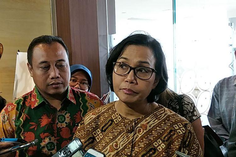 Menteri Keuangan (Menkeu) Sri Mulyani di Perpustakaan Nasional, Jakarta, Kamis (11/1/2018).