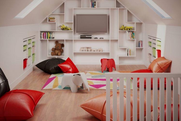 Loteng bisa dimanfaatkan untuk ruang menonton televisi sekaligus bersantai untuk keluarga.