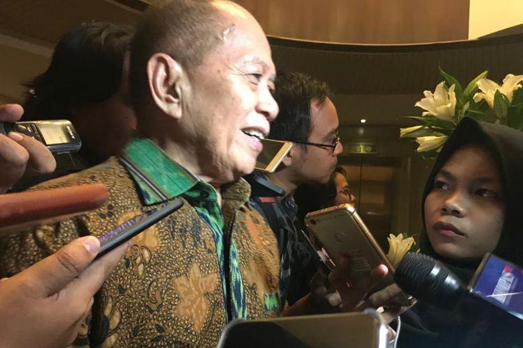 Wakil Ketua Umum Partai Demokrat Syarief Hasan, setelah konferensi pers terkait pertemuan antara Demokrat-PKS, di Hotel Gran Melia, Kuningan, Jakarta Selatan, Senin (30/7/2018)