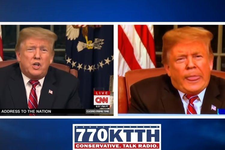 Tangkapan layar perbandingan rekaman pidato Presiden AS Donald Trump yang direkayasa dengan saat siaran langsung.