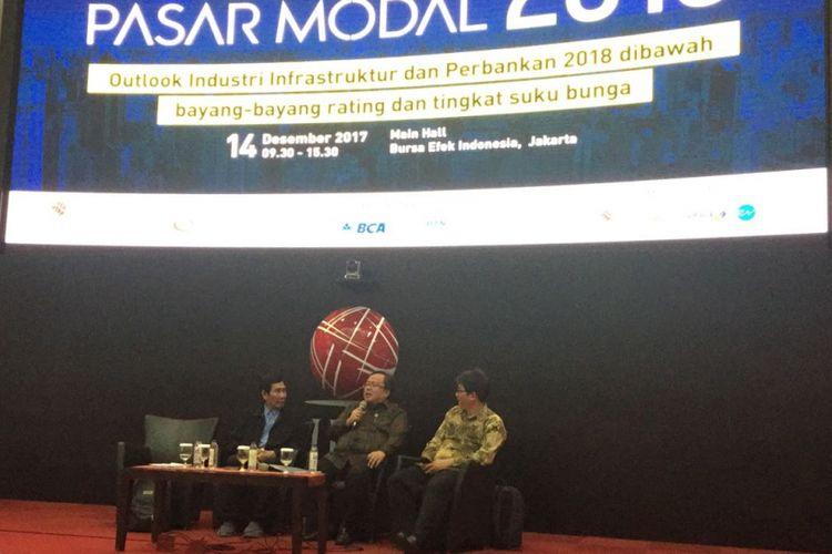 Menteri Perencanaan Pembangunan Nasional (PPN) atau Badan Perencanaan Nasional (Bapennas), Bambang Brodjonegoro dalam closing statemant di acara Outlook Pasar Modal 2018. Kamis (14/12) di Gedung Bursa Efek Indonesia, Jakarta.
