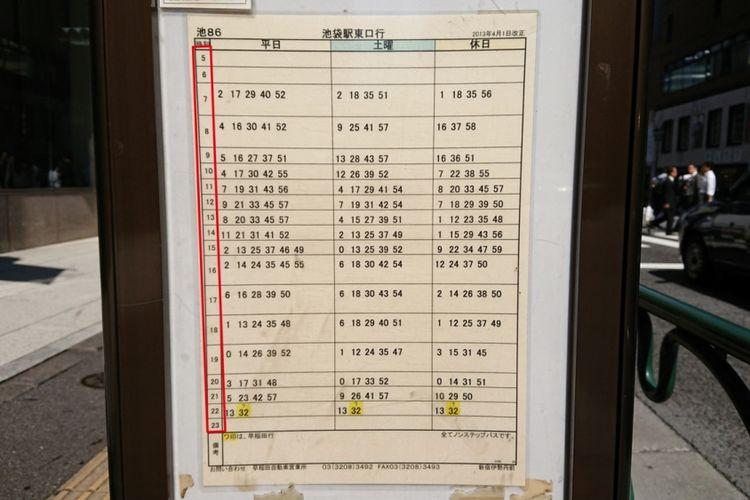 Tabel jadwal bus