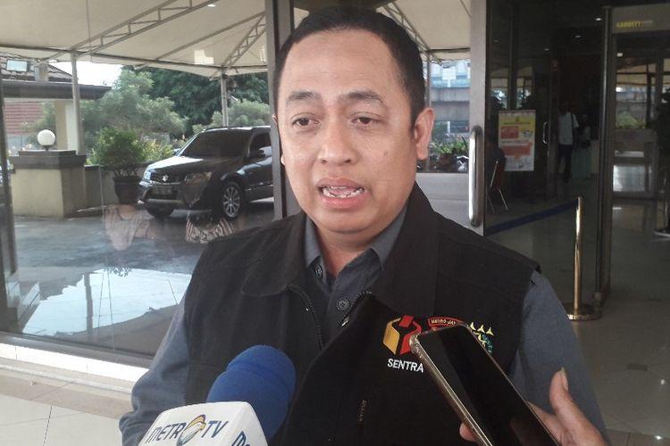 Komisioner dan Ketua Tim Sentra Gakkumdu Bawaslu DKI Jakarta Puadi di Mapolres Metro Jakarta Utara, Selasa (16/4/2019).