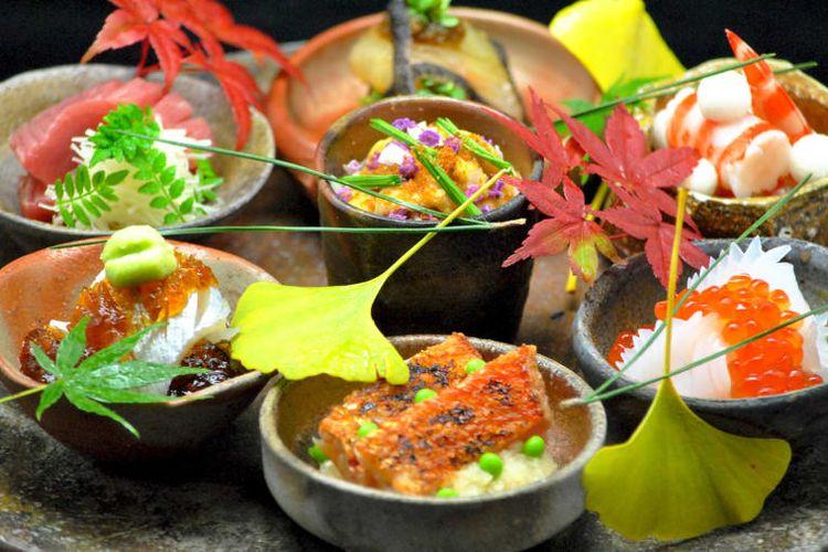 Hidangan yang disajikan di Restoran Nihonryori Ryugin, Tokyo.