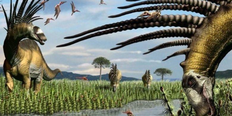 Ilustrasi Bajadasaurus pronuspinax, dinosaurus jenis baru yang ditemukan di Argentina pada 2013. Sangat unik, mereka memiliki punggung berduri dengan gaya mohawk.
