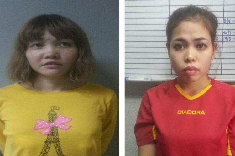 Dua terdakwa kasus pembunuhan Kim Jong Nam, saudarai tiri dari pemimpin Korea Utara Kim Jong Un, yakni perempuan Vietnam, Doan Thi Huong (kiri) dan perempuan Indonesia, Siti Aisyah (kanan).