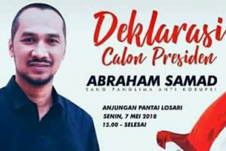 Mantan Ketua KPK,  Abraham Samad akan dideklarasikan sebagai calon Presiden di Anjungan Pantai Losari,  Makassar,  Senin (7/5/2018).