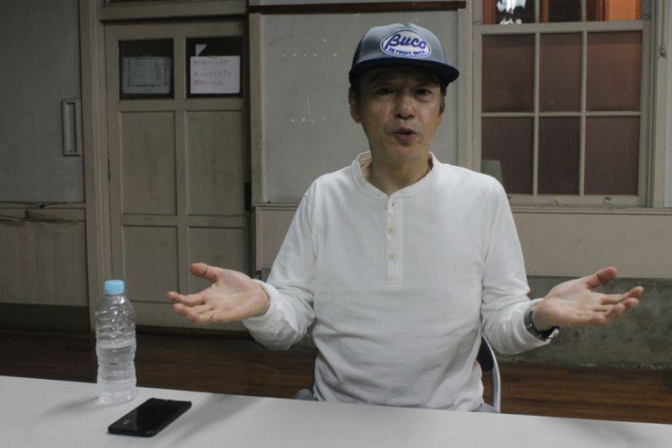 Inao Itsuji, pemain senior manzai sekaligus director film Hibana, saat ditemui di Kyoto, Sabtu (14/10/2017).
