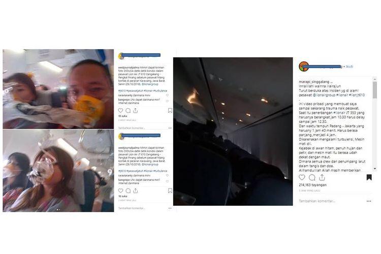 Beredar foto dan video di Instagram yang diduga merupakan foto penumpang pesawat Lion Air JT610 dan video situasi detik-detik sebelum pesawat jatuh.