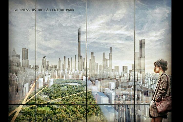 Gambaran CBD Park dalam konsep reklamasi Jakarta Jaya: The Green Manhattan.