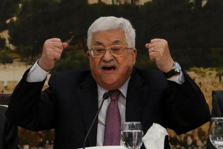 Presiden Palestina, Mahmoud Abbas, ketika berpidato di pembukaan rapat untuk membahas sikap Palestina terkait pengakuan Yerusalem sebagai ibu kota Israel Senin (15/1/2018).