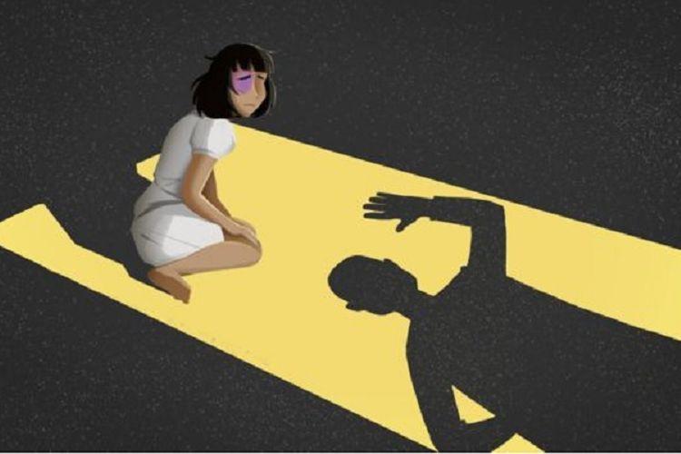 Ilustrasi ini menggambarkan kekerasan dalam rumah tangga.
