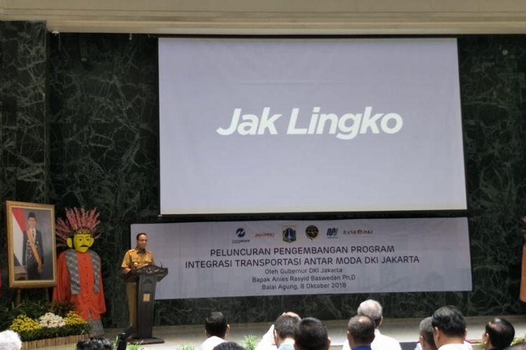 Gubernur DKI Jakarta Anies Baswedan meluncurkan nama Jak Lingko untuk program integrasi antarmoda di Jakarta di Balai Kota DKI Jakarta, Jalan Medan Merdeka Selatan, Senin (8/10/2018). Nama Jak Lingko menggantikan nama OK Otrip yang digunakan selama masa uji coba.