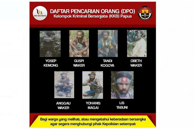 Polda Papua merilis DPO anggota kelompok bersenjata yang melakukan aksi di Tembagapura, Mimika, Papua.