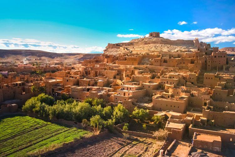 Kasbah Ait Ben Haddou, situs warisan dunia di Maroko.