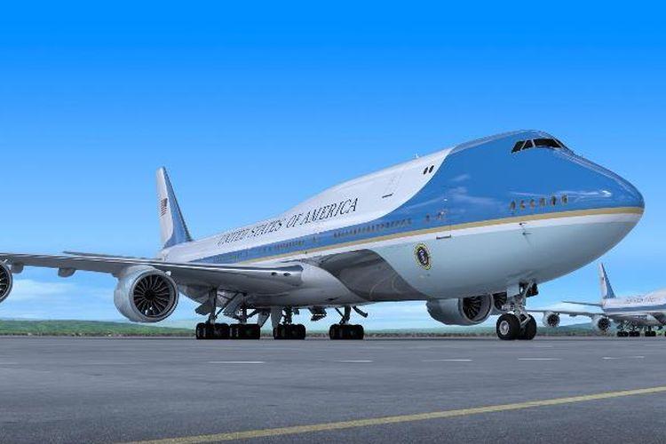 Ilustrasi pesawat Air Force One yang diproduksi oleh Boeing. (Twitter/The Boeing)