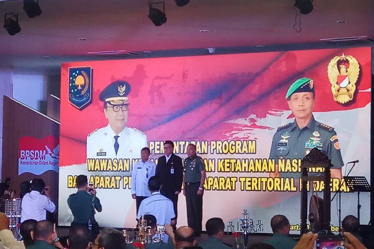 Menteri Dalam Negeri RI, Tjahjo Kumolo dalam acara Rakornas Wawasan Kebangsaan dan Ketahanan Nasional di Gedung Badan Pengembangan Sumber Daya Manusia, Kementerian Dalam Negeri, Jakarta, Rabu (17/10/2017).