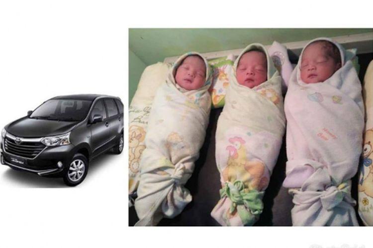 Bayi kembar tiga lahir di dalam mobil Avana