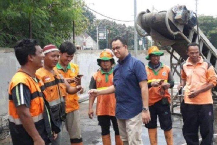 Gubernur DKI Jakarta, Anies Baswedan melakukan inspeksi dadakan ke beberapa rumah pompa maupun pintu air yang ada di Jakarta Utara, Sabtu (9/3/2019).