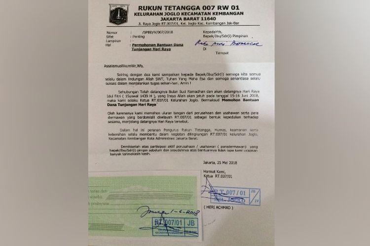 Ketua Rt 007 Joglo Akui Edarkan Surat Minta Thr Ke
