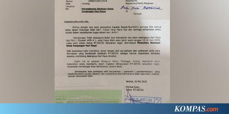 Ketua Rt 007 Joglo Akui Edarkan Surat Minta Thr Ke Perusahaan